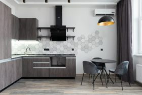 contemporary kitchen interior with furniture in house